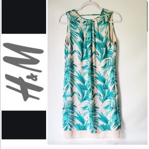 H&M Sleeveless Lined Like New Dress palm print